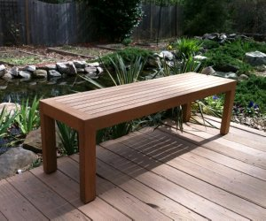 5u0027 Teak Backless Bench On Outdoor Deck By Atlanta Teak Furniture