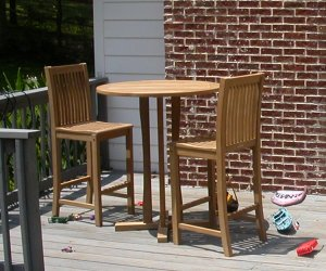Premium Teak Bar Set On Outdoor Deck By Atlanta Teak Furniture