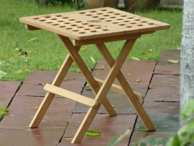 teak side table with umbrella hole