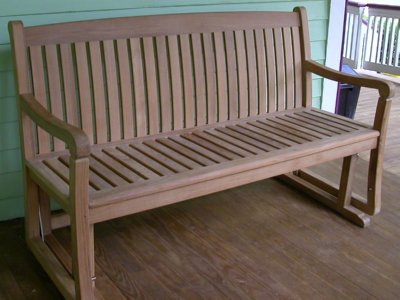 teak gliding bench by Atlanta Teak Furniture