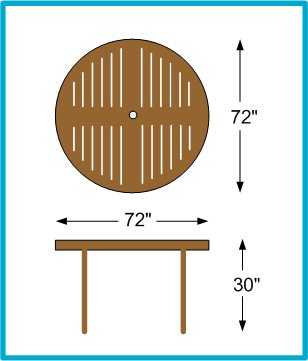 Majestic dining table 6 39 round atlanta teak furniture - Dimensions table 6 personnes ...