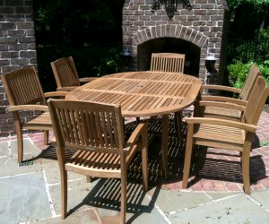 Six seater dining set atlanta teak furniture for Outdoor furniture samui