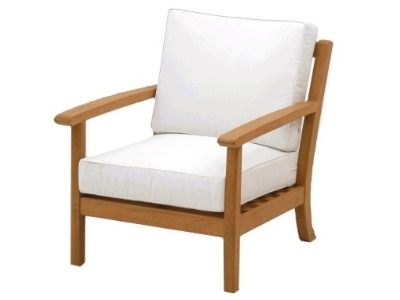 deep seating teak chair with Sunbrella cushions