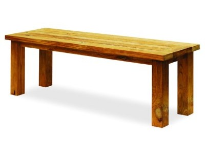 Backless Teak Bench   Reclaimed Wood