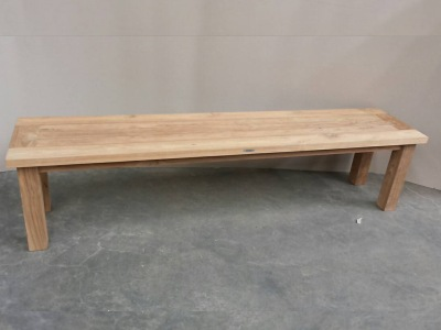 teak reclaimed wood backless bench