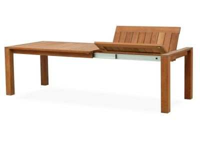 Large Teak Dining Extension Table In Open Position