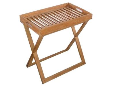 teak tray table with removeable tray