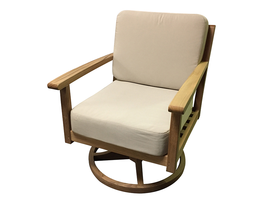 deep seating teak swivel chair