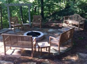 fire pit furniture - teak benches and chairs