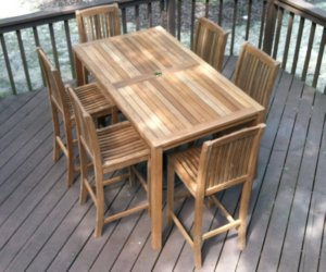 Teak Bar Table And Stools On Patio
