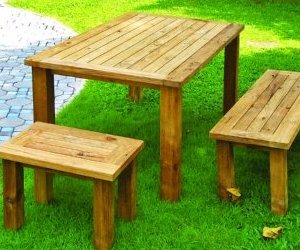 reclaimed teak wood dining set