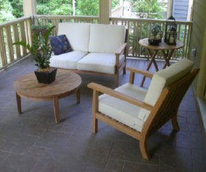 teak round coffee table and lounge chairs in Dunwoody GA