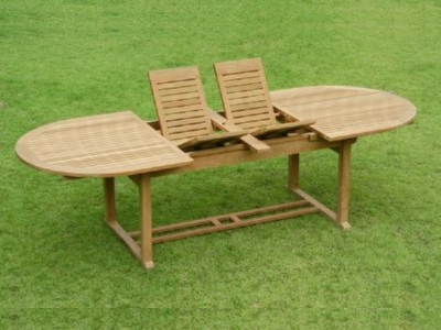 large teak dining extension table