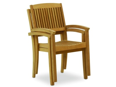 outdoor dining - teak stacking chairs