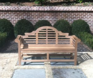 5' Teak Lutyens bench in the garden