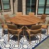 6ft round teak dining table