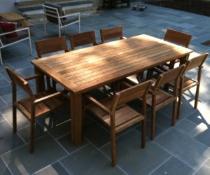 reclaimed teak dining set on outdoor patio