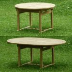 teak extension table opened and closed