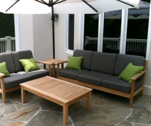 teak sofa and loveseat with teak coffee table