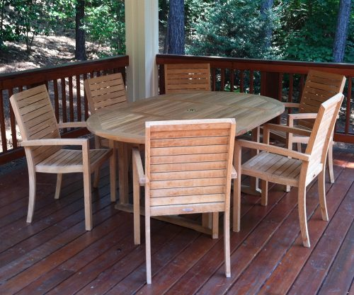 teak dining - Tybee stacking chairs and Samet extension table
