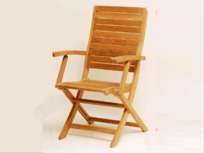 A Teak Folding Chair With Arms