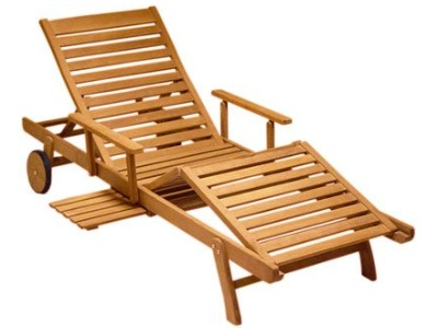 A Teak Outdoor Chaise Lounge Chair