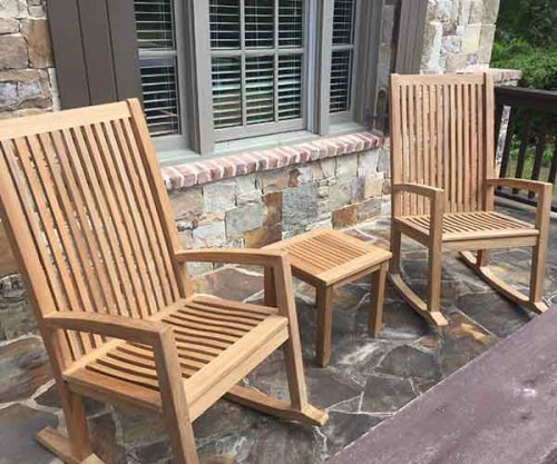 teak rocking chairs on the front porch