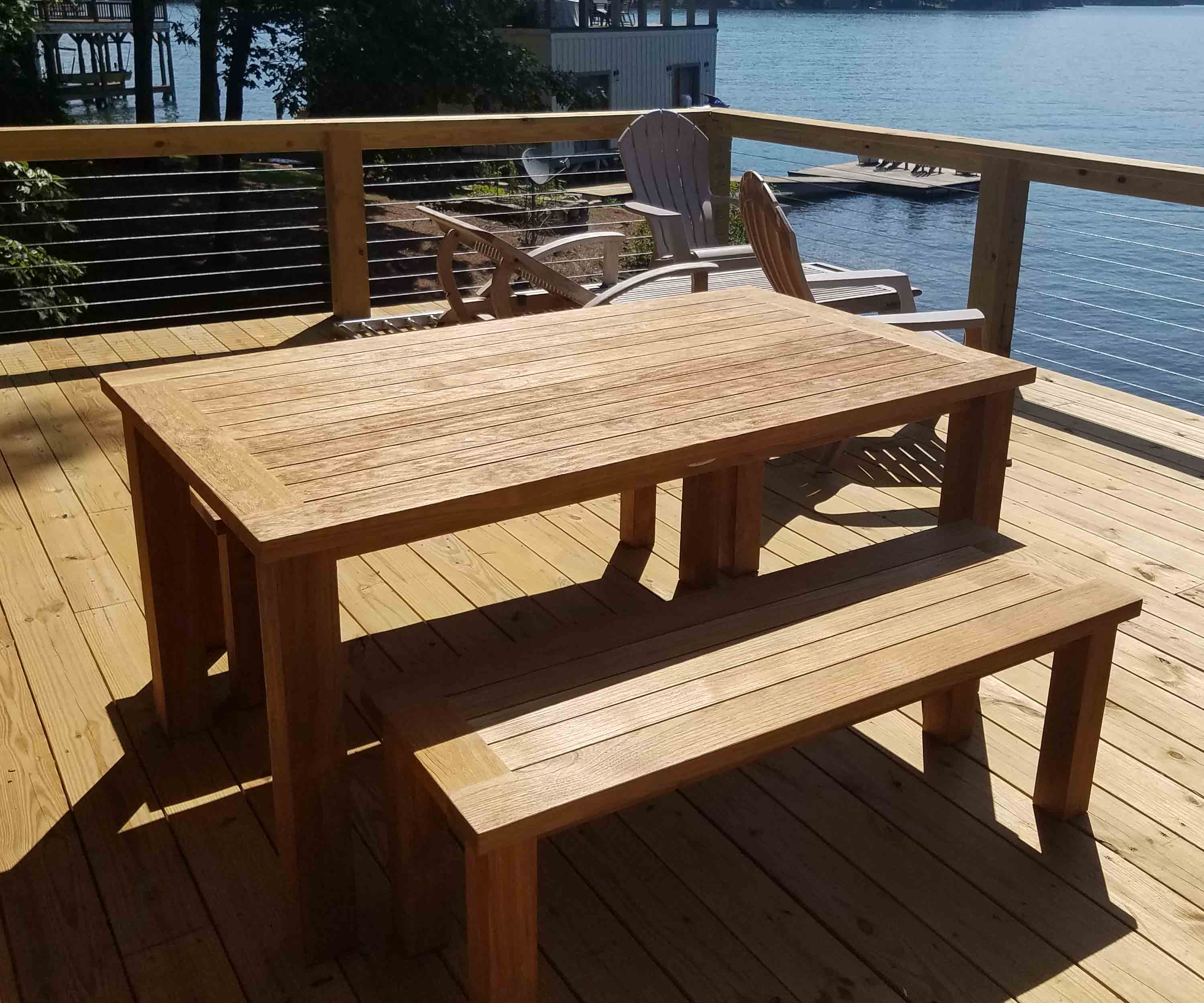 Reclaimed teak table and benches