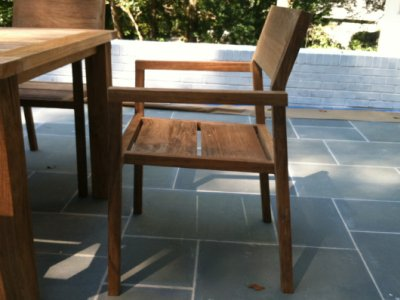 stacking chair made from reclaimed teak wood