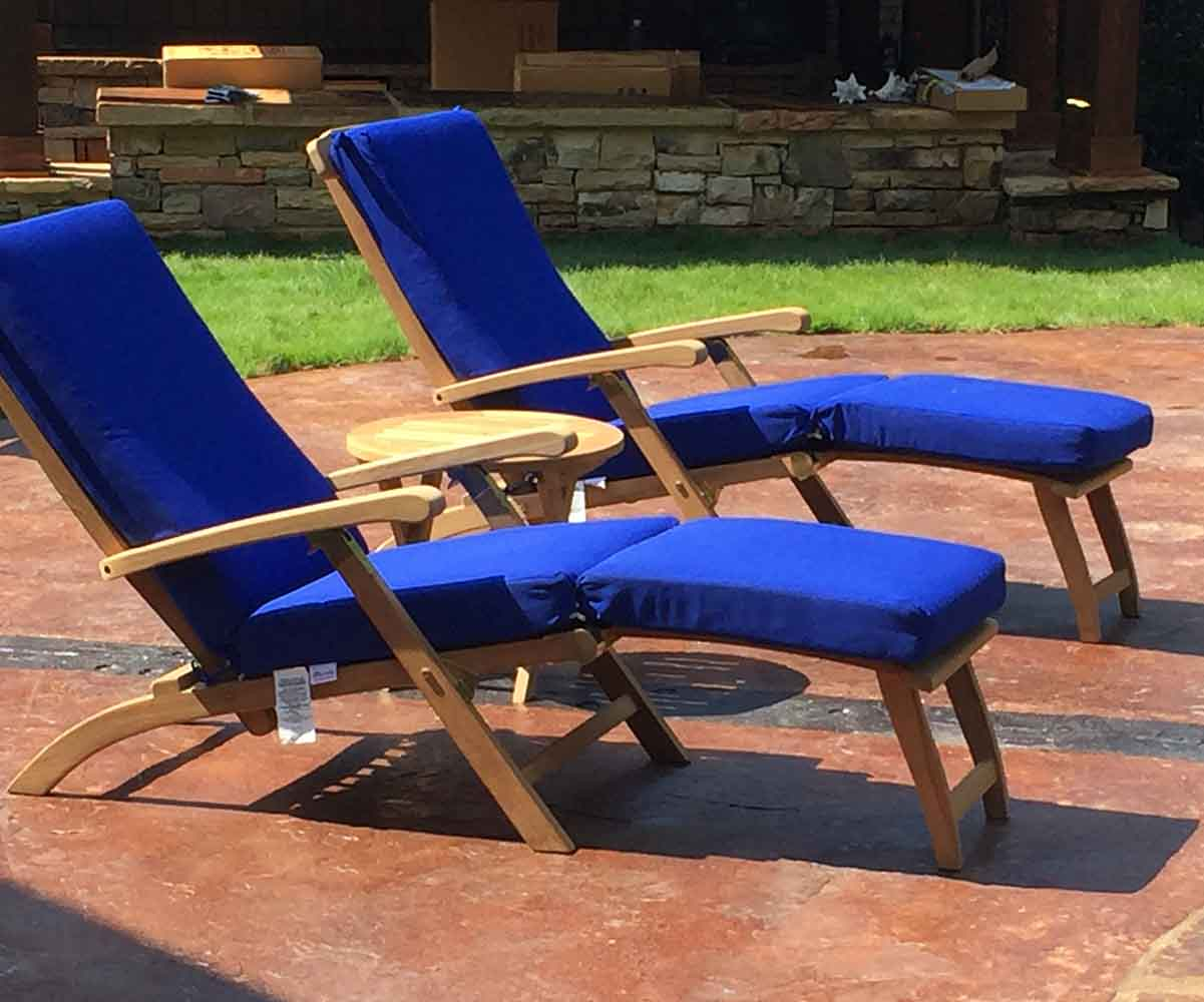 Teak Captainu0027s Steamer Chairs With Cushions