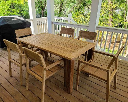 Rec;laimed Teak Table and Chairs