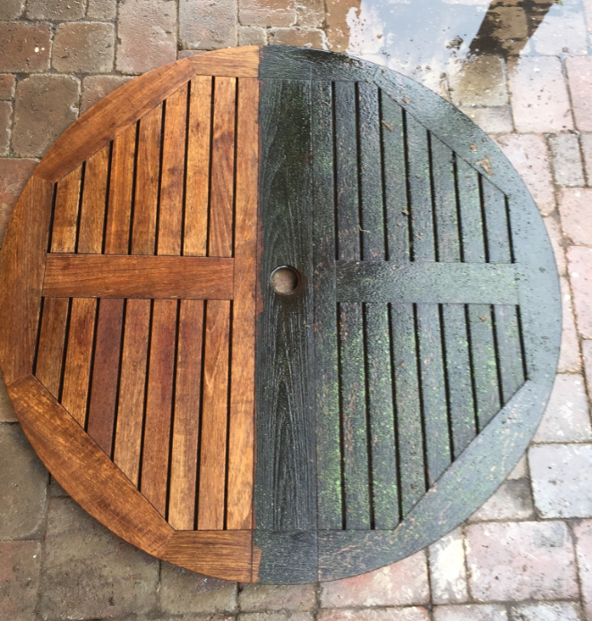 Restoring Teak Furniture - pressure washing