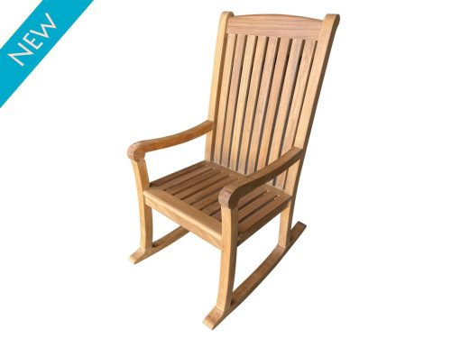 Tall teak rocking chair
